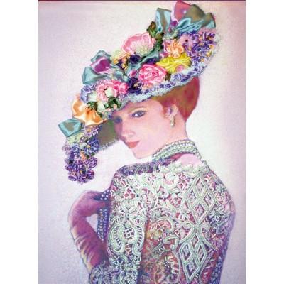 Дама в жемчужном колье - Изящное Рукоделие - набор вышивки бисером и лентами