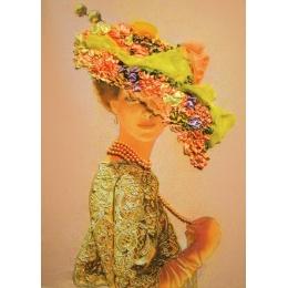 Набор для вышивки бисером и лентами - Изящное Рукоделие - Дама в золотом