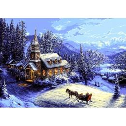 Домой на Рождество - Goblen Set - вышивка гобеленовым швом