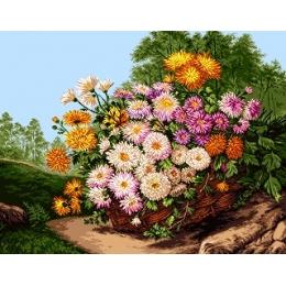 Вышивка гобеленовым швом - Goblen Set - G858 Корзинка с цветами