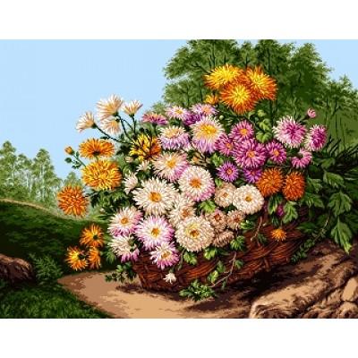 Корзинка с цветами - Goblen Set - вышивка гобеленовым швом
