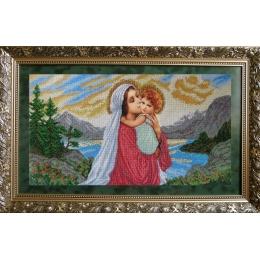 Мадонна и дитя - БС Солес - вышивка бисером икон