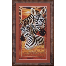 Набор для вышивки бисером  - Магия канвы - Б-037 Африка: Зебры