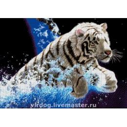 Авторский набор для вышивки бисером - Токарева А. - Белый тигр 34-1518-НТ