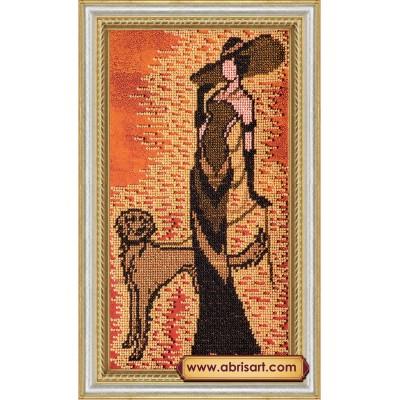 Дама с собачкой - Абрис Арт - набор вышивки бисером