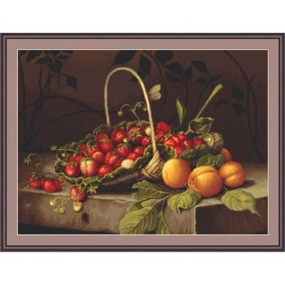 Вышивка крестом Корзинка с клубникой и персиками, Lucа-S