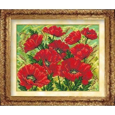 Набор для вышивки бисером №1001 Красные маки