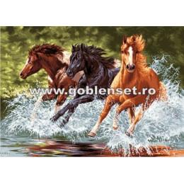 Вышивка гобеленовым швом - Goblen Set - G891 Лошади в галопе