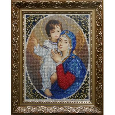 Мадонна с дитям (радость) - БС Солес - вышивка бисером икон