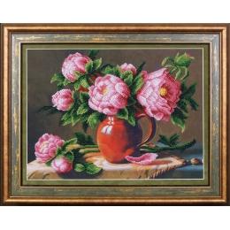 Розовые пионы - Магия канвы - набор для вышивки бисером