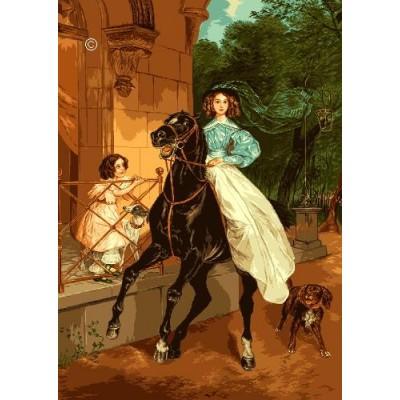 Всадница (Брюллов) - Goblen Set - вышивка гобеленовым швом