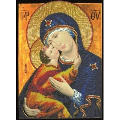 Вышивка бисером икон - Изящное рукоделие - Икона Богородица Умиление с младенцем